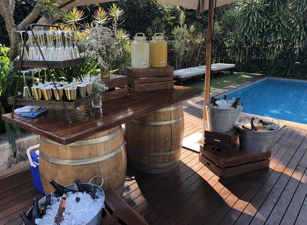Wine Barrel Bar: $300 - Make your bar a feature with our wine barrel bar!Just add you favourite drinks and ice.includes:✓ 2 wine barrels and bar top✓ 2 x 5L carafes & 1 x 8L carafe✓ Bar menu board✓ 5 wooden crates✓ 4 metal drink buckets✓ Bunting decoration (optional)✓ Drink tray options (stand or trays)✓Set up