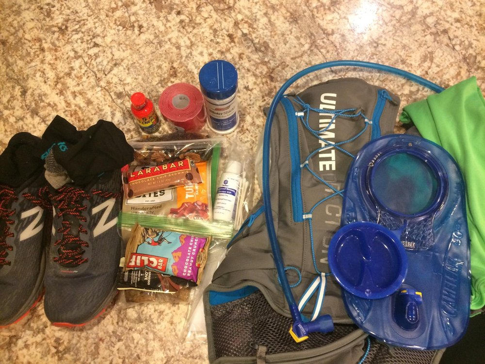 Josh's Gear: UD Pack with 1.5L bladder, NB Hierro V2 Shoes, 5hr Energy (testing), Pre-tapping Supplies (testing) typical ultra snacks and some homemade banana oatmeal bars.