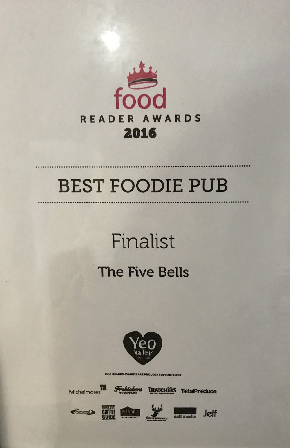 Foodie Awards 2016 Best Foodie Pub