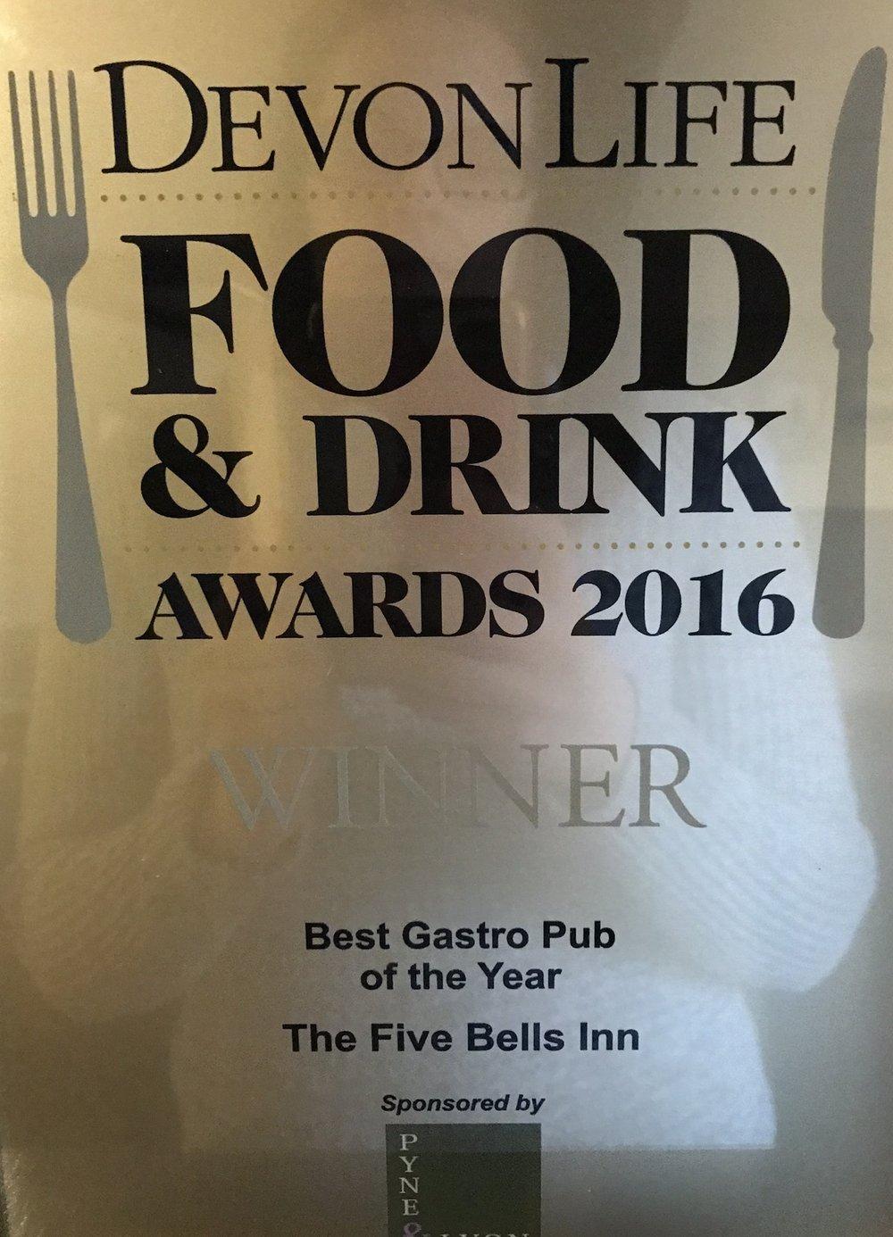 Devon Life Food & Drink Awards 2016 Best Gastro Pub of the Year
