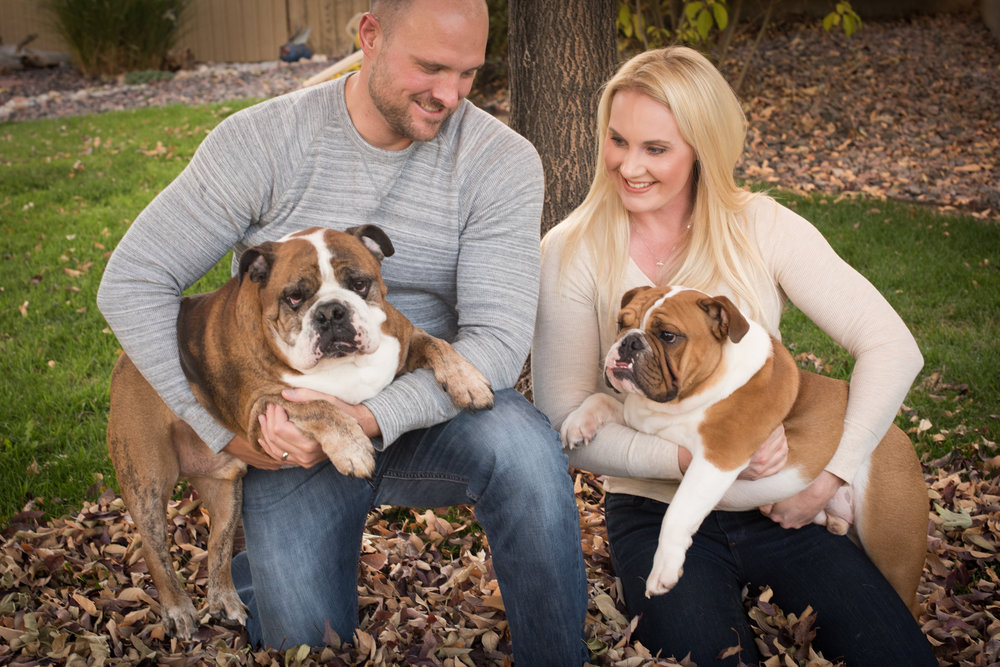 Autumn family portrait with bulldogs