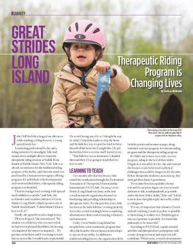 Great StridesArticle Featured inSidelines Magazine! - Written By: Kathryn McMackin