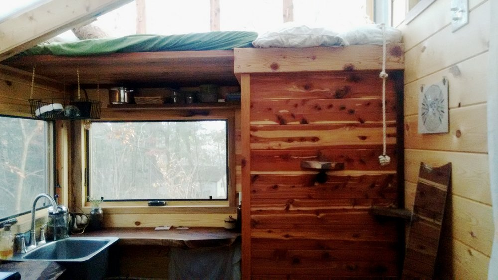 Woolly Resistance - Kitchen and lofted bed.