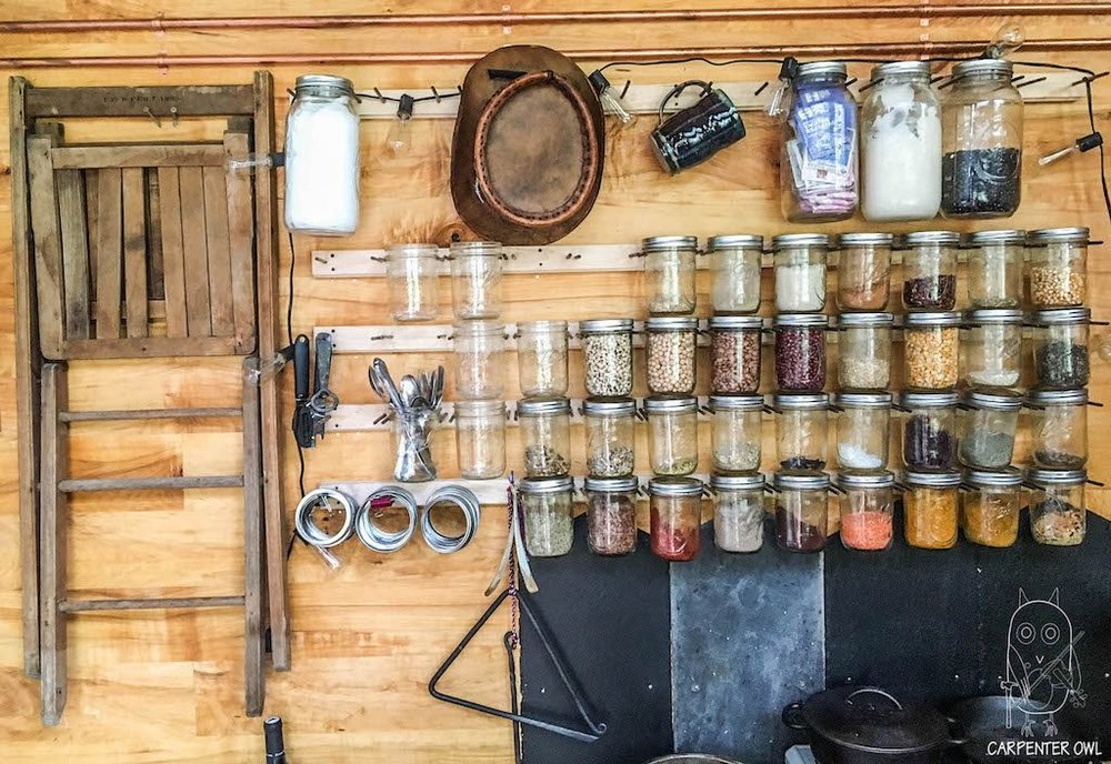 Snails Away: The Fiddlin' Snail Tiny Home - Kitchen, Spice Rack
