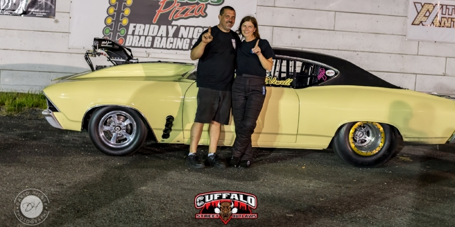 Rachel Jewell- June 1, 2018 Outlaw limited Street Winner (Randy and Rachel Jewell Pictured)