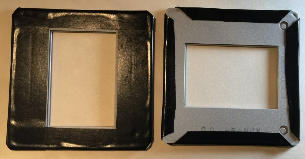 Back & Front of Empty Frames Adapted to Block Light Bleed