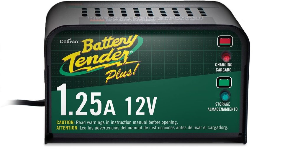 Battery Tender Plus! Model 021-0128 comes with two cabling options and safety caps. And it's designed so you can leave it connected to the battery.