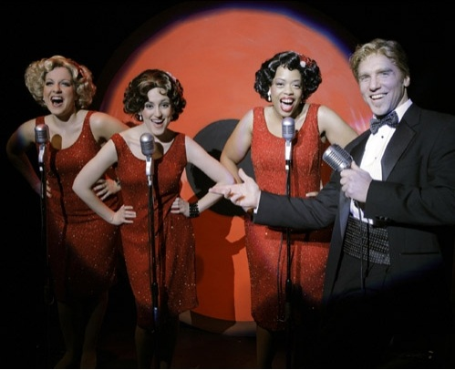 Tamara Corbin, Becca Lopez, Angela Grovey, and John Schiappa in THE BUDDY HOLLY STORY