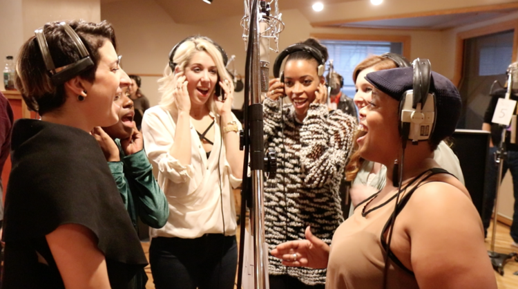 Tessa Alves, Tiffany Adeline Cole, Sara Andreas, Samantha Farrow, Marjorie Failoni & Angela Grovey at the Original Broadway Cast Recording of ESCAPE TO MARGARITAVILLE in Chicago