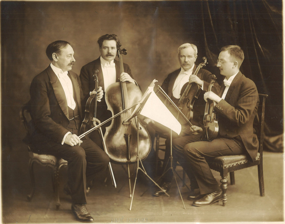Kneisel Quartet - The first professional touring American string quartet, the Kneisel Quartet was formed alongside the Boston Symphony by the principal members in 1885. The Kneisel established the first annual chamber music series in New York City, gave the American premiere of Schoenberg's Verklärte Nacht, and established the Kneisel Hall summer festival in Maine.