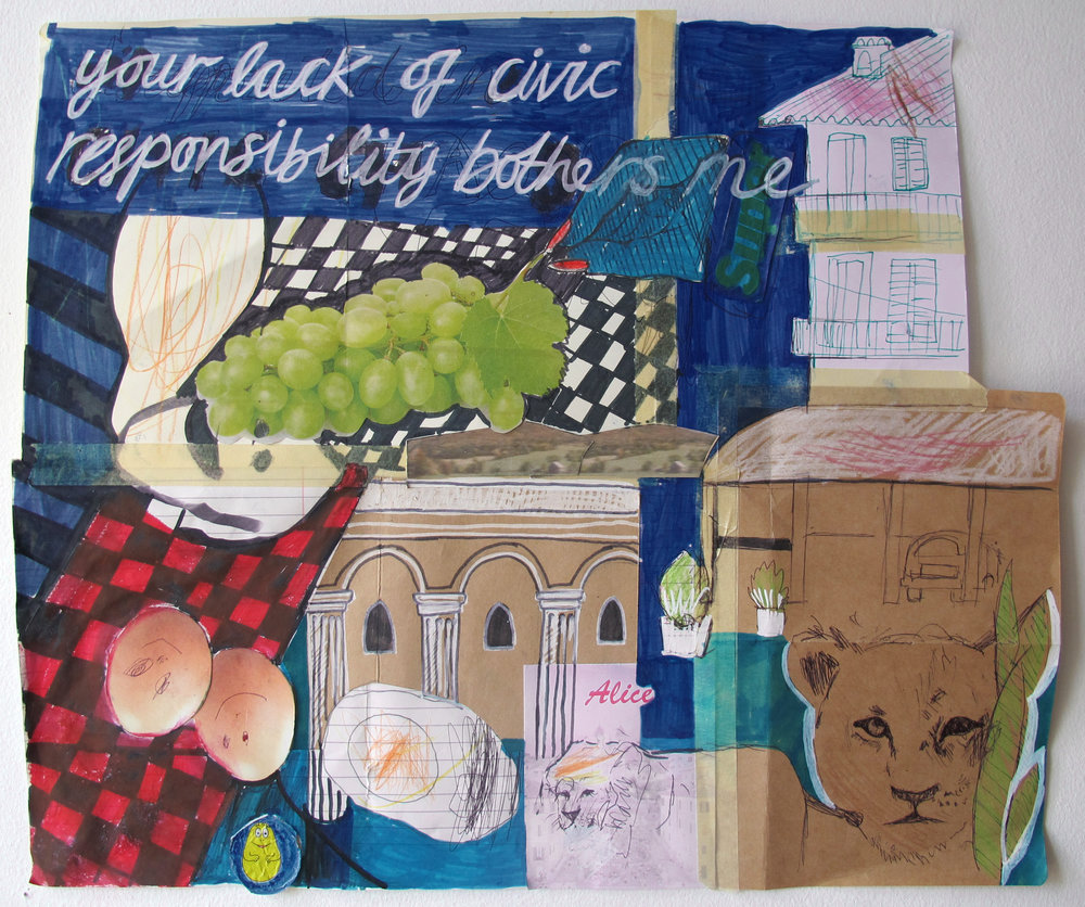 your lack of civic responsibility troubles me , mixed media in collaboration with artist's daughter.