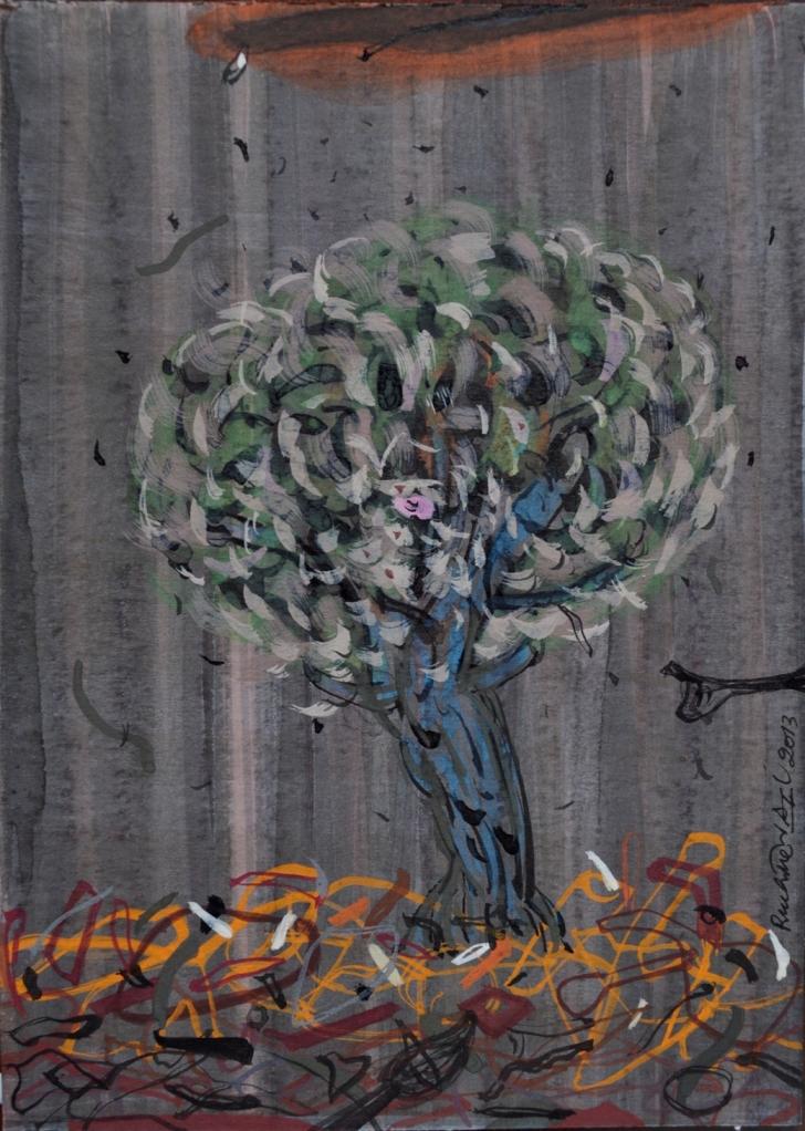 1 RUCHIKA WASON SINGH, Urban Wilderness I, Sumie ink, Gouche on Paper, 12.7 cms x 17.78 cms, 2013.JPG