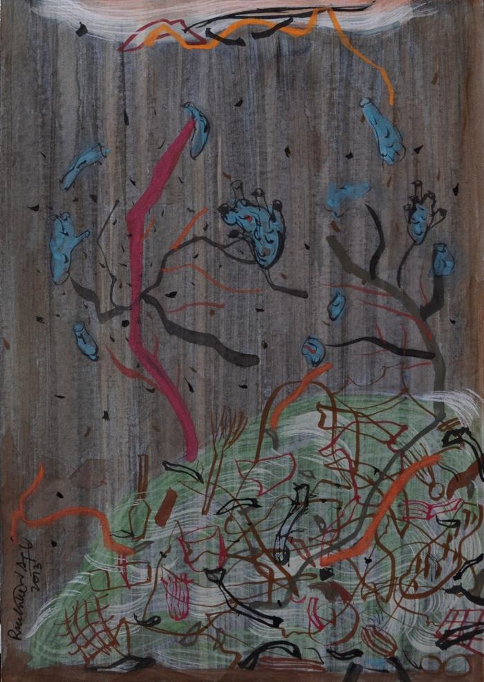 4 RUCHIKA WASON SINGH, Urban Wilderness IV, Sumie ink, Gouche on Paper, 12.7 cms x 17.78 cms, 2013.JPG