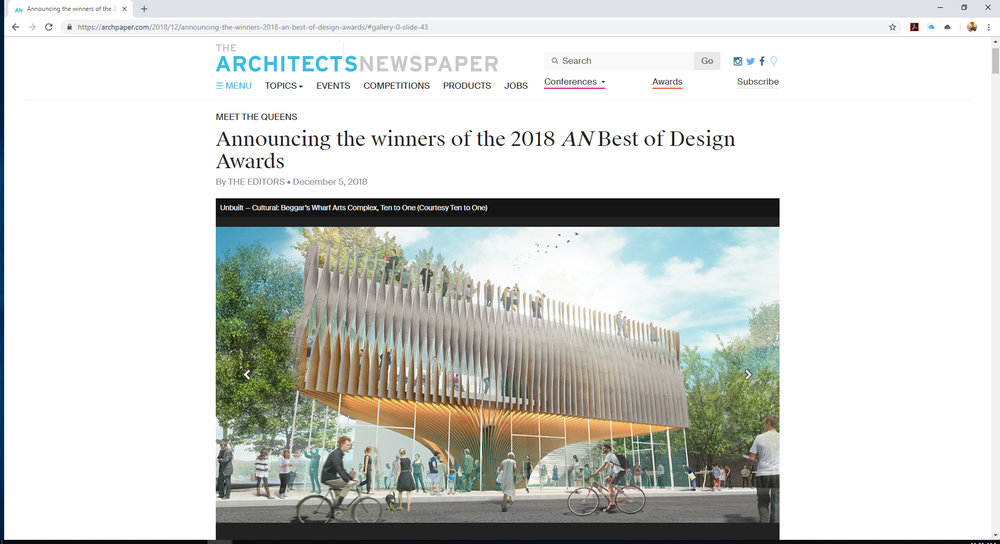 """Beggars CAN be Choosers: 2018 Best of Design Awards winners for Unbuilt – Cultural"" Architect's Newspaper December 2018"