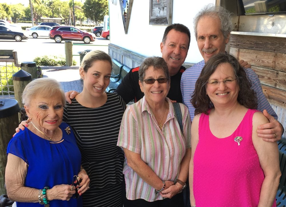 Nita left, 70 years after her 1948 wedding, her granddaughter Jessica, daughter Susie, and Sharon with Nita's son Andy in back with Arnee - February 2018 - Florida