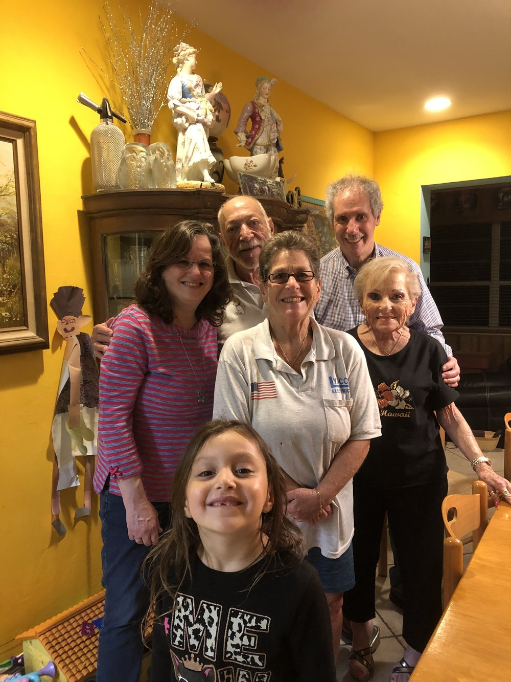 At the Koppele/Lynn's North Miami Beach, Florida February 13, 2019 Sharon on left, Nita standing in front of Arnee on the right. Nita's daughter Susie in the middle with her husband, Jeffrey Lynn, a South Orange, New Jersey native behind and their granddaughter Jelisa (Jeli) in front.
