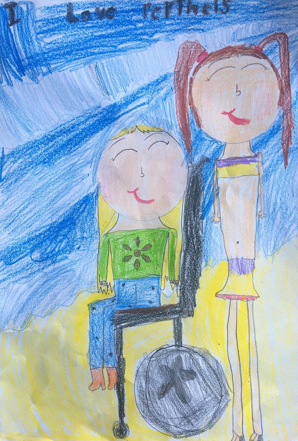 002 - WHEELIES IN MY WHEELCHAIR by Ruby Mulhearn (age 7) in Gold Coast, Australia
