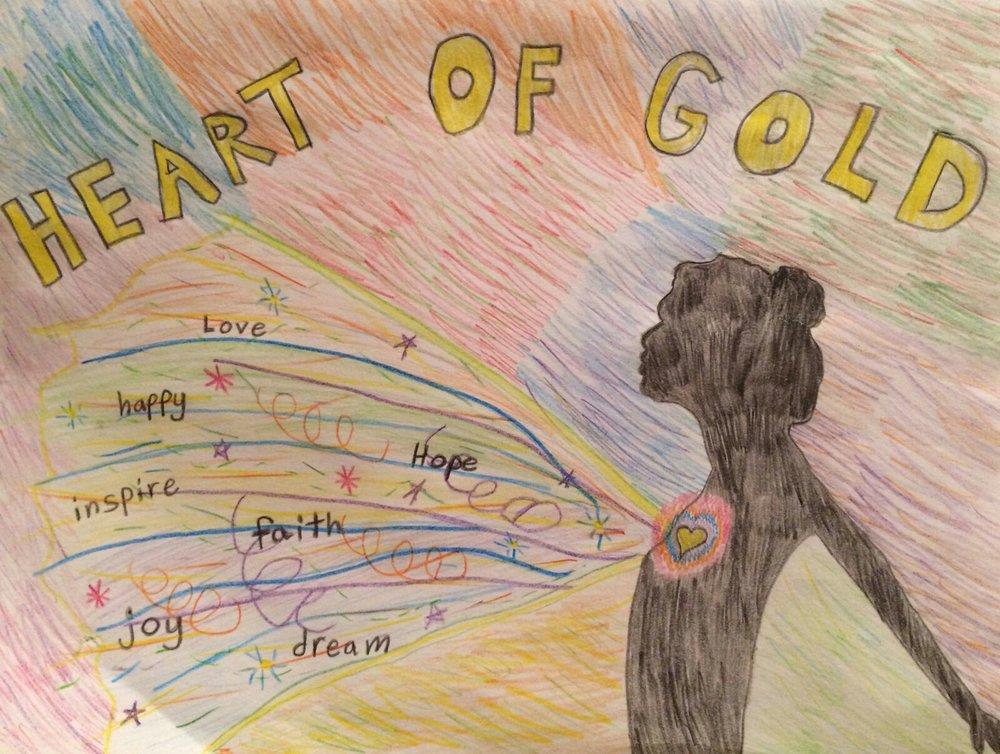 012 - HEART OF GOLD by Layla Fiorini (age 9) in Turlock, California, USA