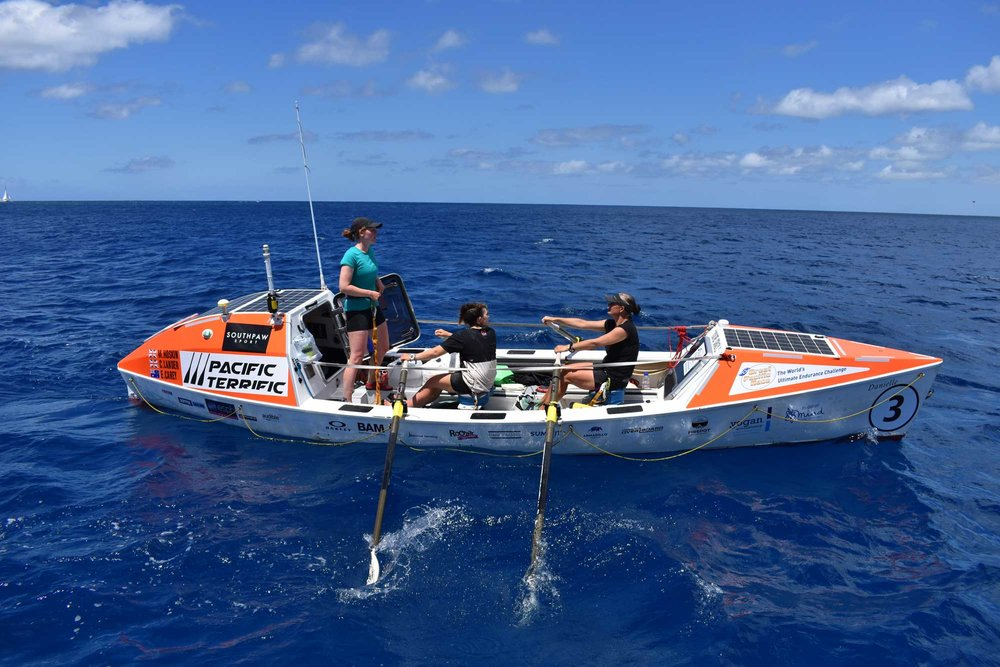 The crew Rowed over 2400 miles and it was not always this blue and calm. They saw storms,high winds and experienced true immersion in the largest expanse of ocean in the world.