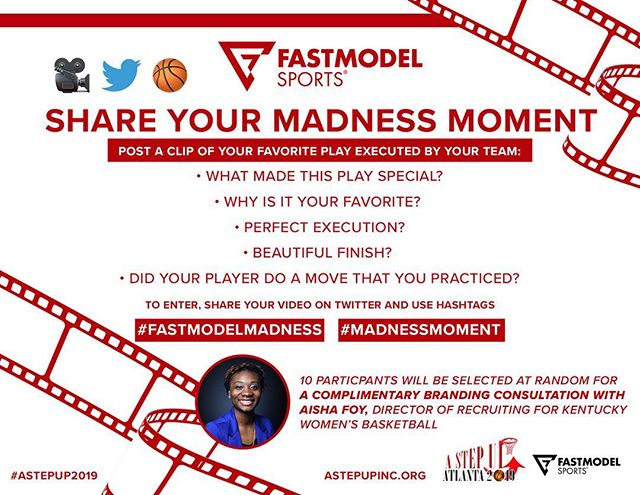 Hey Coaches 🗣  What was your #MadnessMoment of this season? 👀  @fastmodelsports 🏀💻 x @AStepUpFHA presents #FastModelMadness  SHARE a clip of your favorite play executed by your team this year!  ON TWITTER 🎥  Post your #MadnessMoment between 4/1 - 4/15 to enter!  #AStepUp2019