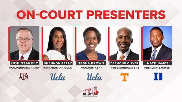 Let's get the day started with our DYNAMIC speaker lineup for today's on court presentations! WOW! 🏀😱 #AStepUp2019 here we go!