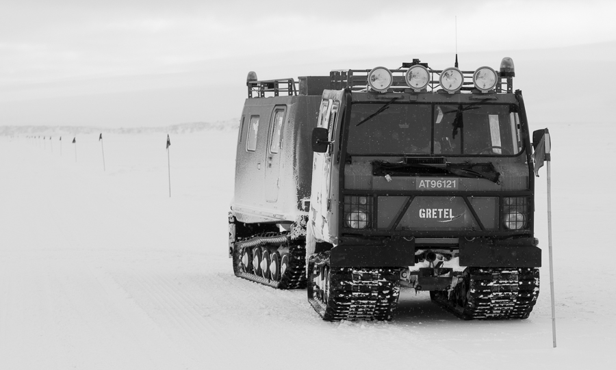 Our ride out onto the sea ice, a hagglund tracked vehicle. Top speed about 15 mph.