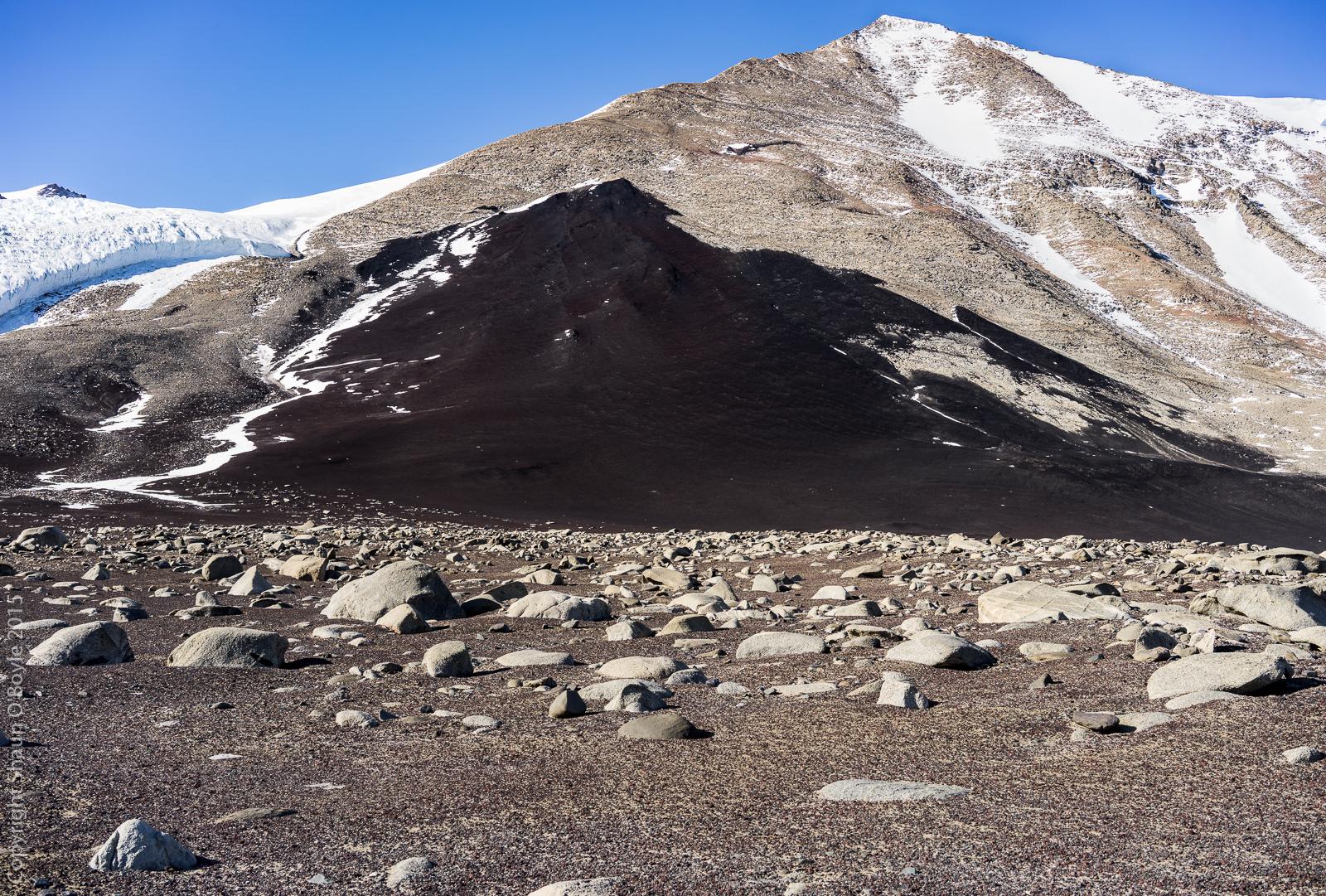 Patch of black volcanic rock.