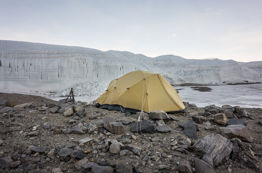 My new home, that is the Canada Glacier behind my tent.