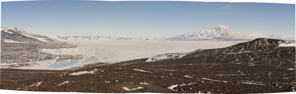 Ross Ice Shelf with 8,800 foot tall Mount discovery on right
