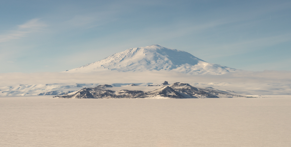 Approaching McMurdo in a helicopter.