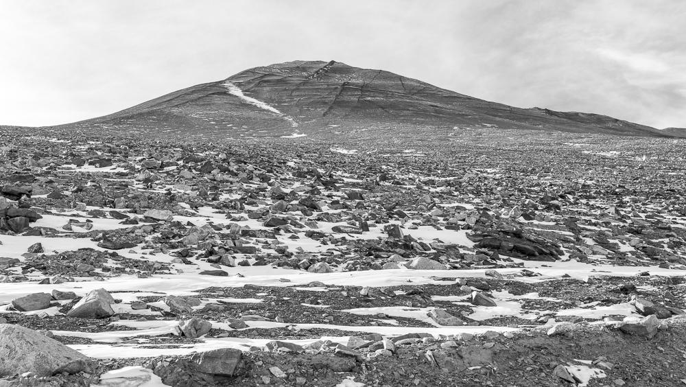 2600 ft high slopes of Mt Barnes