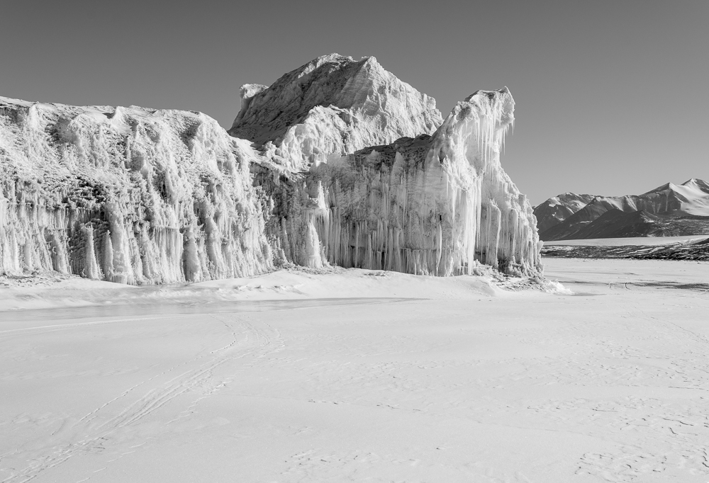 Laura took me on a trip out to Cape Bernacchi where there is a dive hole, and stranded iceberg on the way