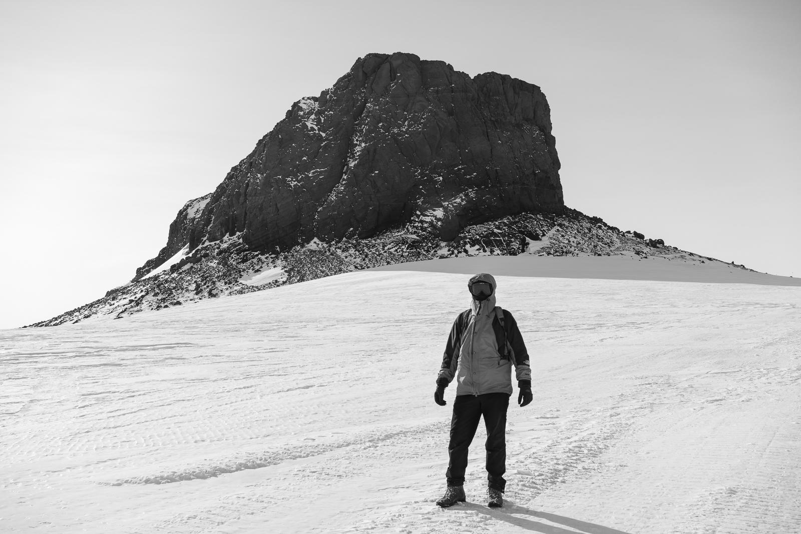 Famous Polar Explorer in front of Castle Rock.