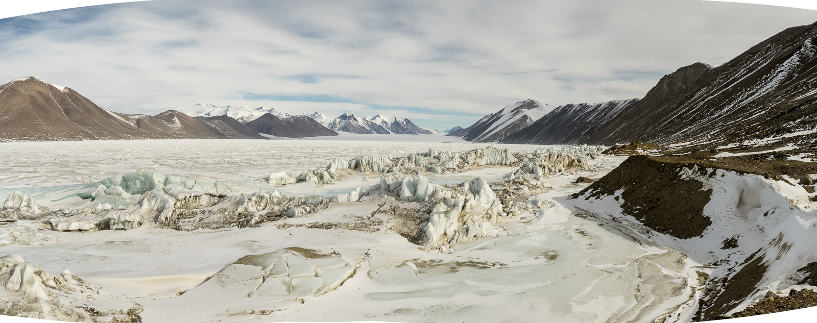 The view towards the Ferrar Glacier, this is a close as we could get to the glacier because of the pressure and extremely rough sea ice.