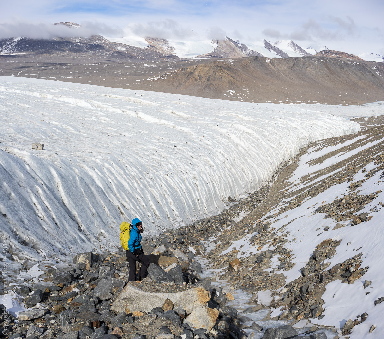 Renee as we descend the lateral moraine of the Canada Glacier