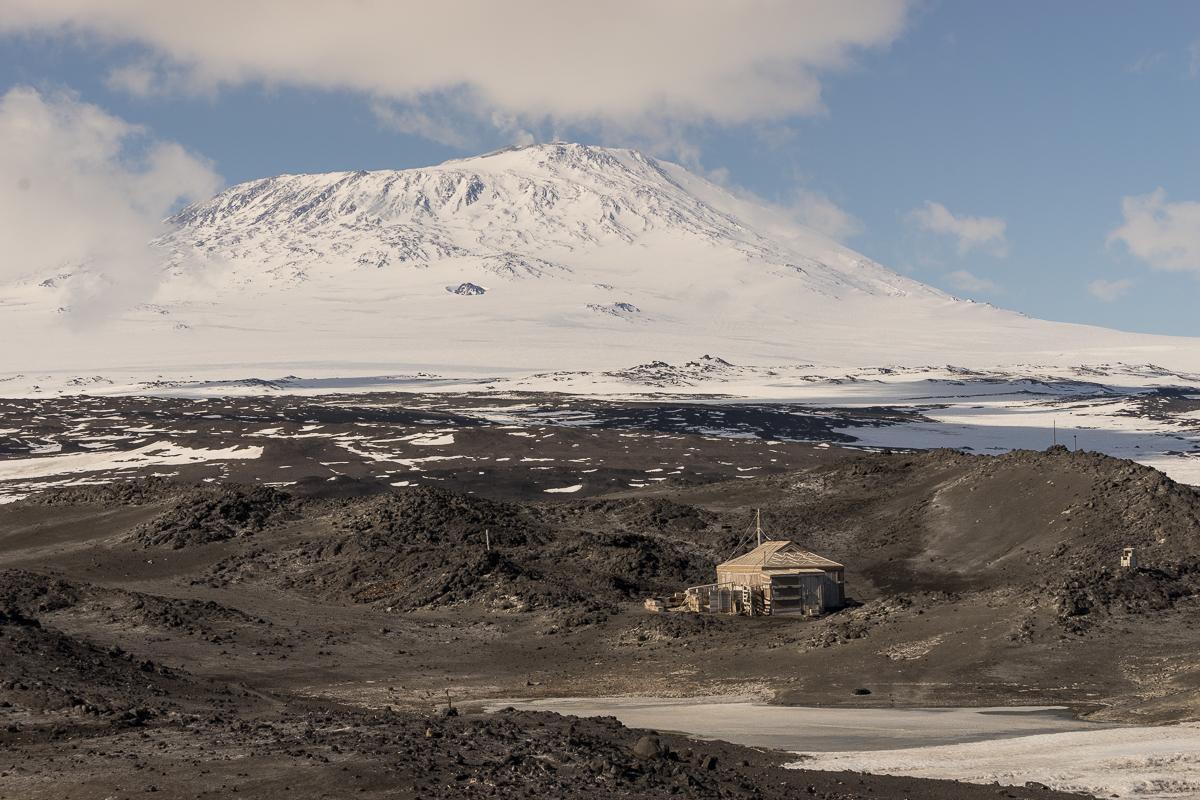 Shackleton's hut and Mount Erebus.
