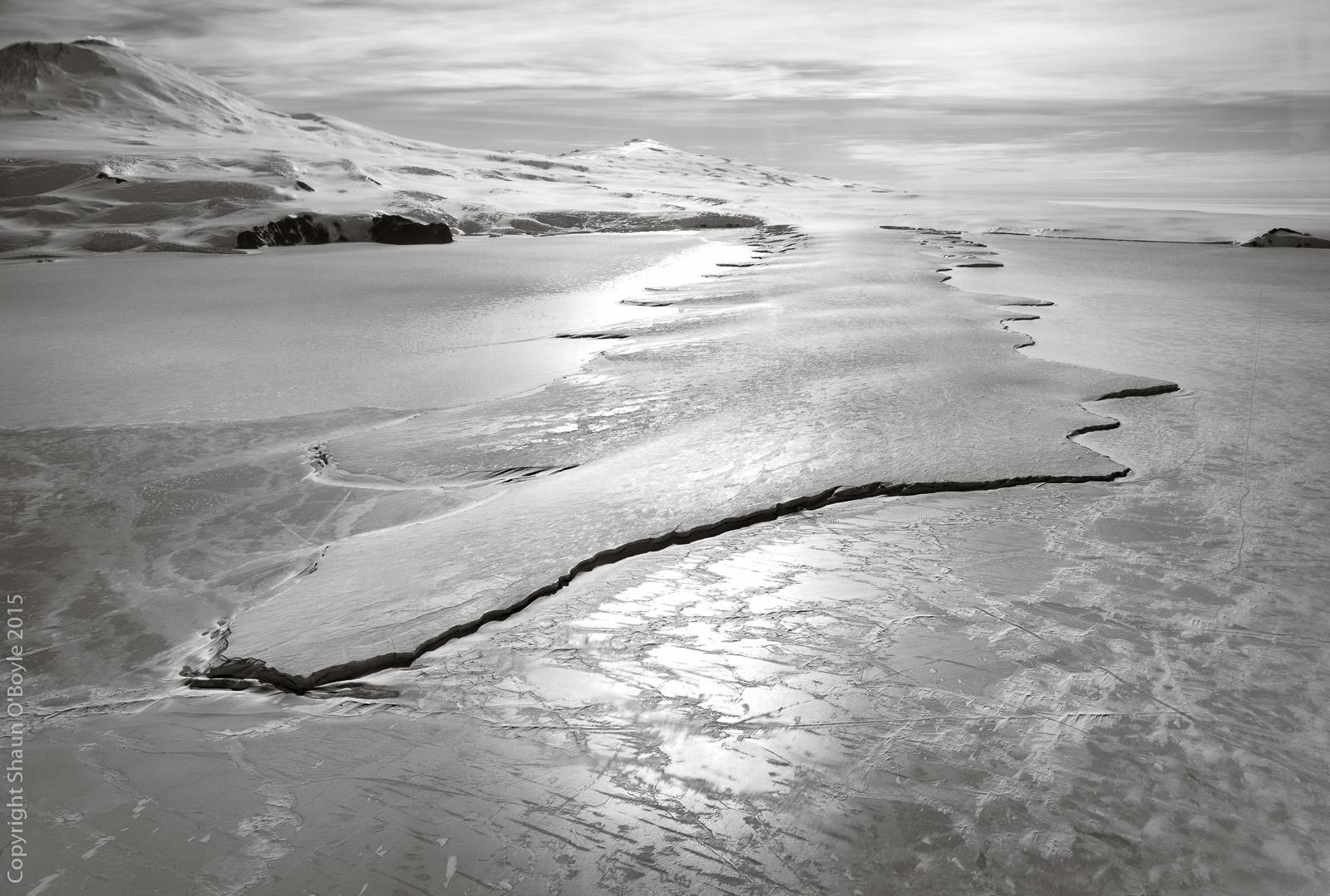 The Erebus Ice Tongue, an extension of the Erebus Glacier out into the Ross Sea.
