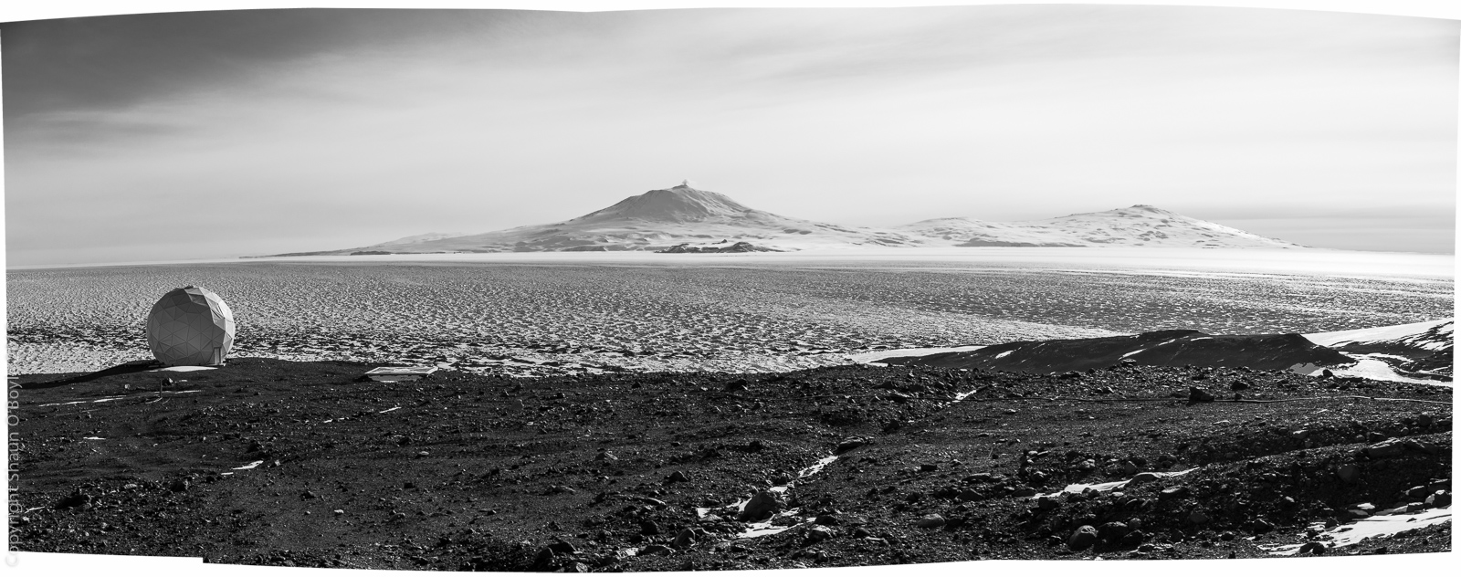Station communication dome. Ross Island and McMurdo in the distance.distance