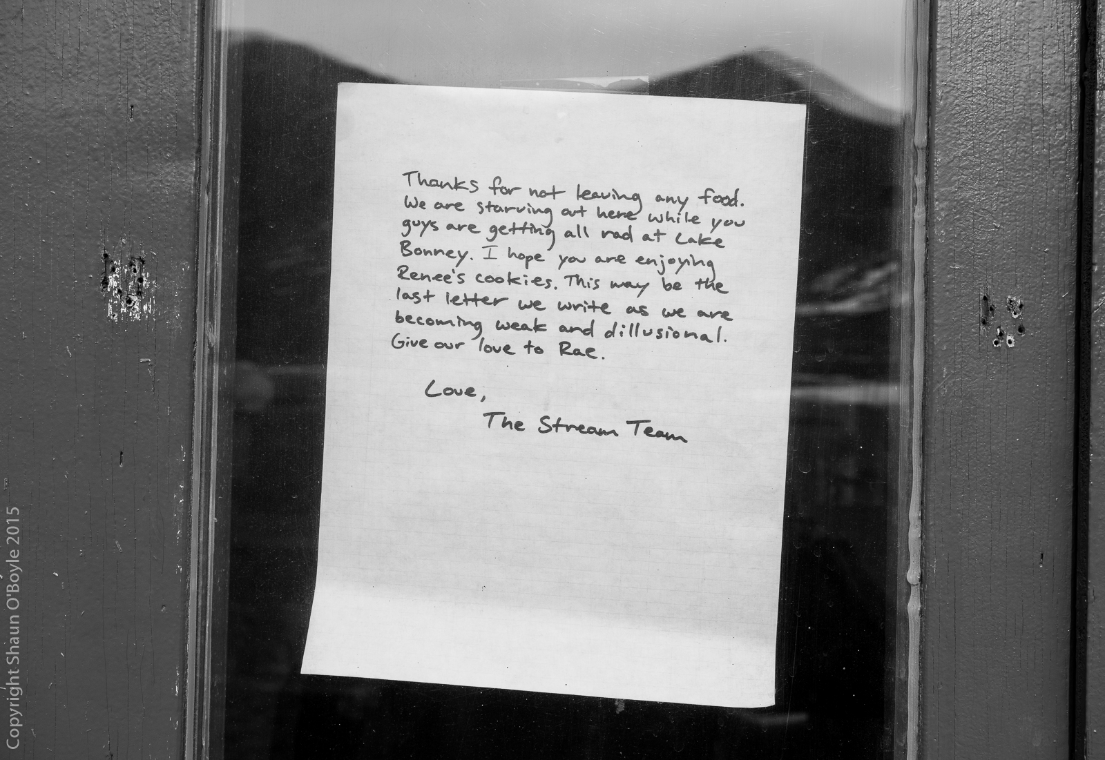 Note on door of Jamesway