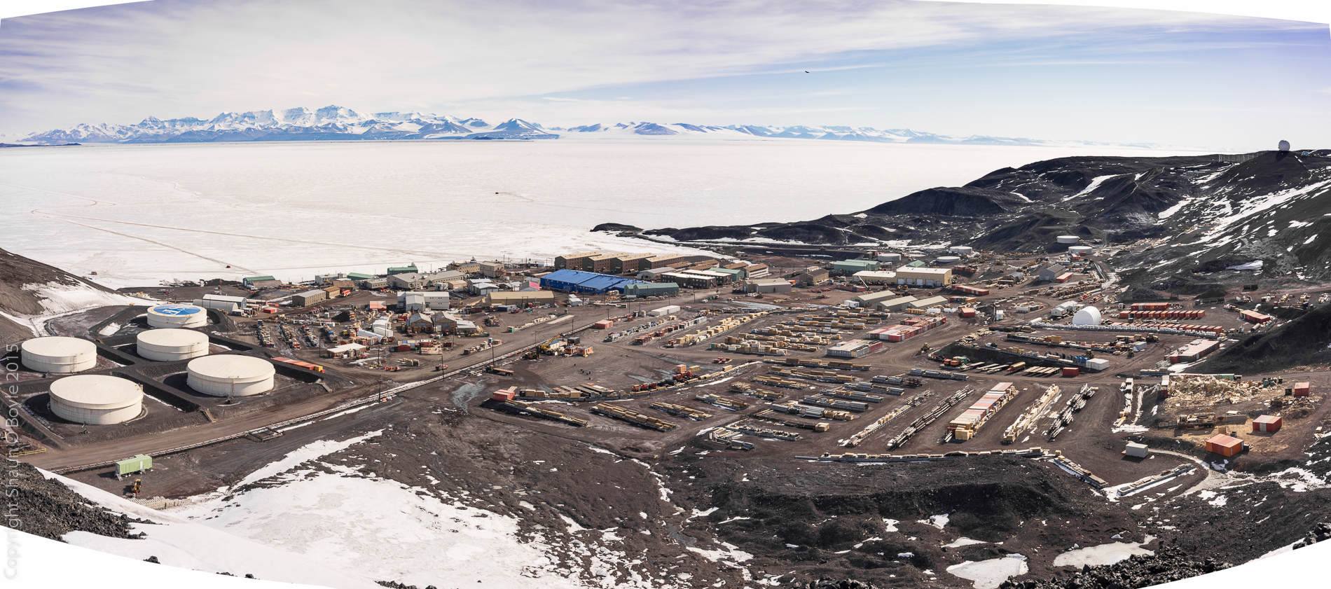 McMurdo Station on Dec 4, 2015 from the heights at T-Site, this image gives an idea of the amount of cargo that moves through the station