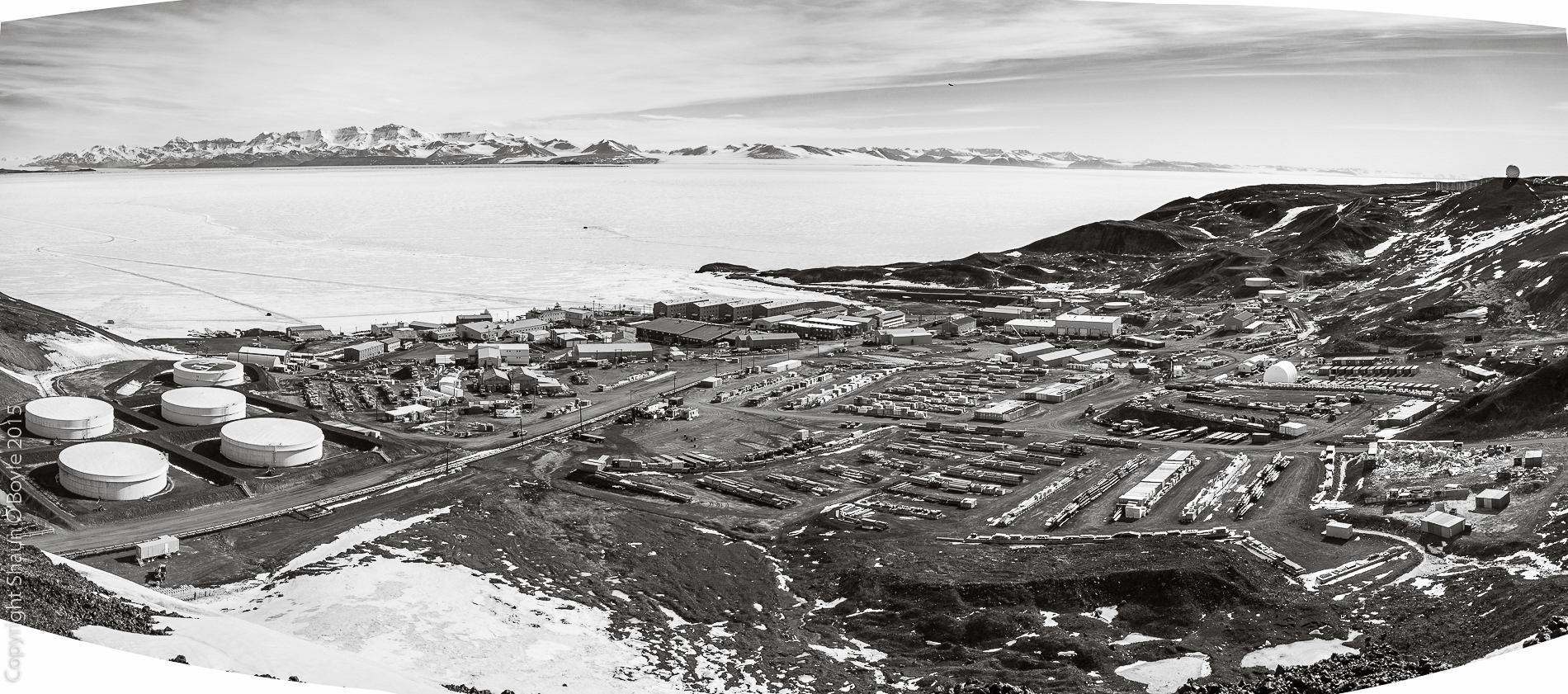 Overview of McMurdo Station from T-Site, showing the extent of the cargo storage yards