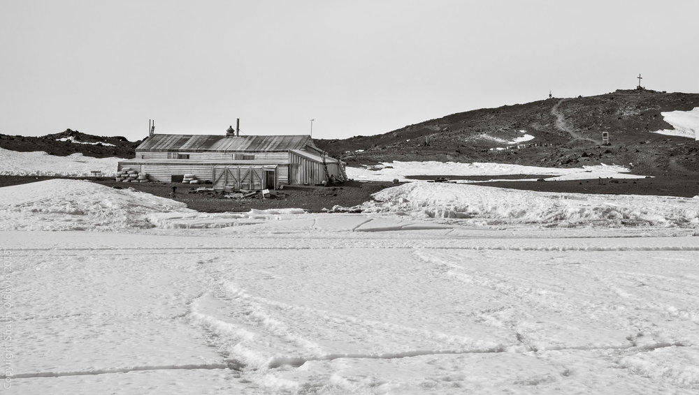 Cape Evans hut and windvane hill