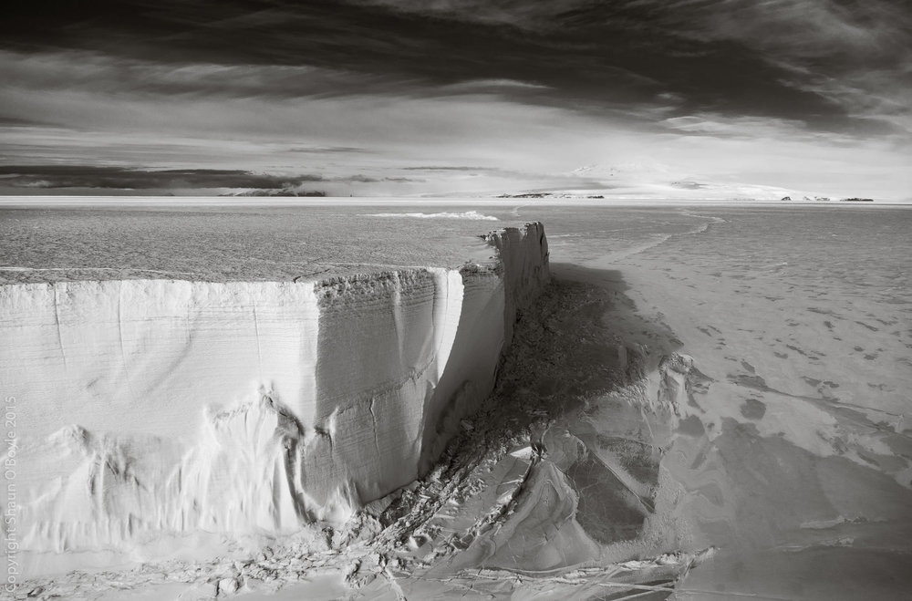 Tabular Iceberg in McMurdo Sound. The berg is ten stories tall.