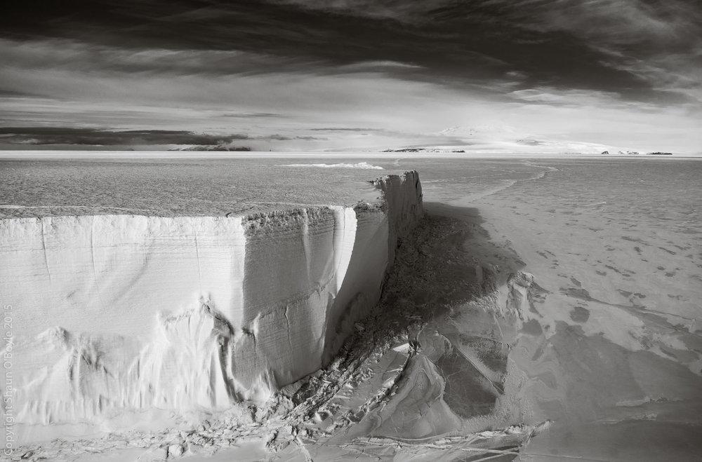 Tabular Iceberg in McMurdo Sound. The berg is ten stories tall.