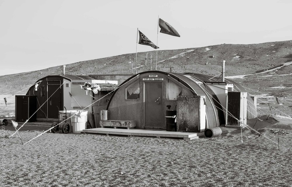 New Harbor camp Jamesway Huts adapted from Korean war Jamesways, now serving as camp shelter
