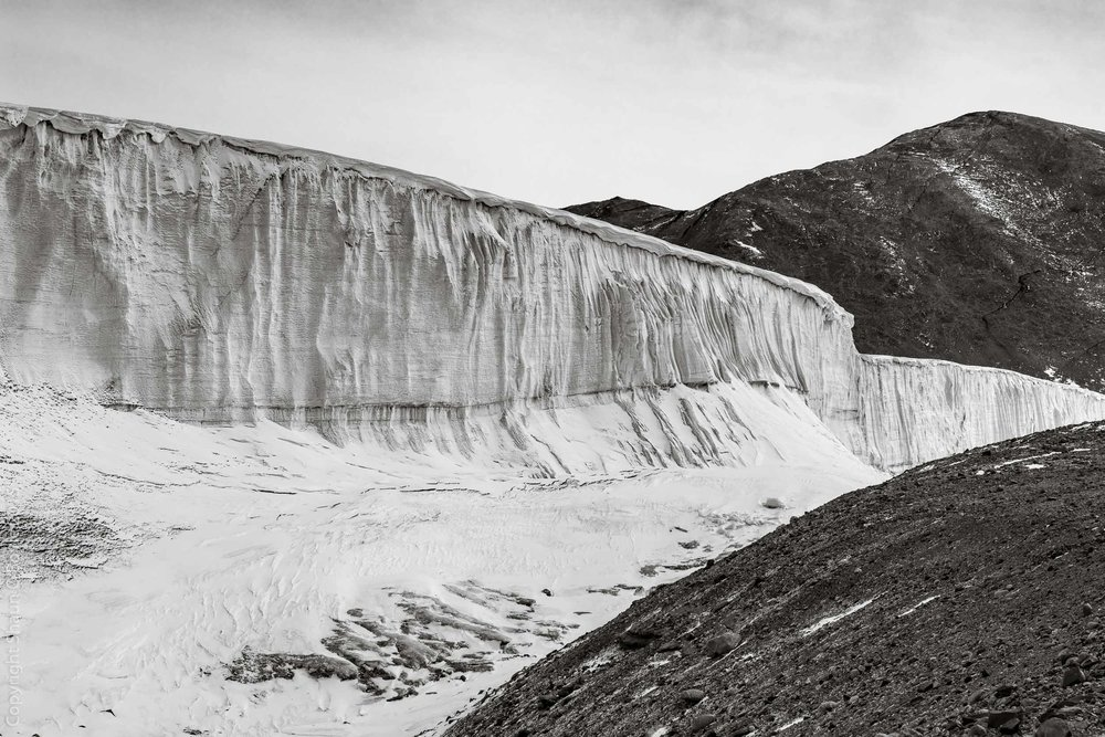 Commomwealth Glacier, we estimated this face to be about 80 feet high.