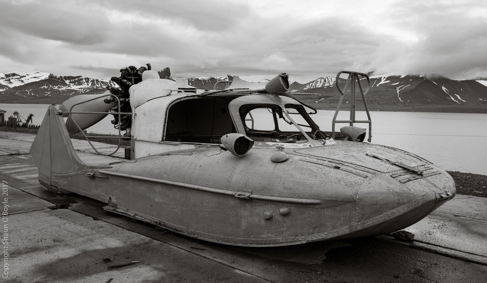 Tupolev A-3 Aerosledge, a Russian made air propeller driven vehicle for traveling on both snow and water. Barentsburg, Svalbard, Norway
