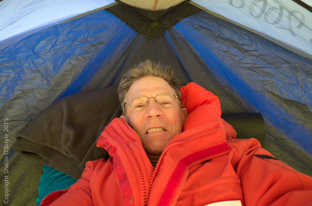 Testing my tent for the first night camping in Antarctica. It took two of us to set it up in the constant high winds.