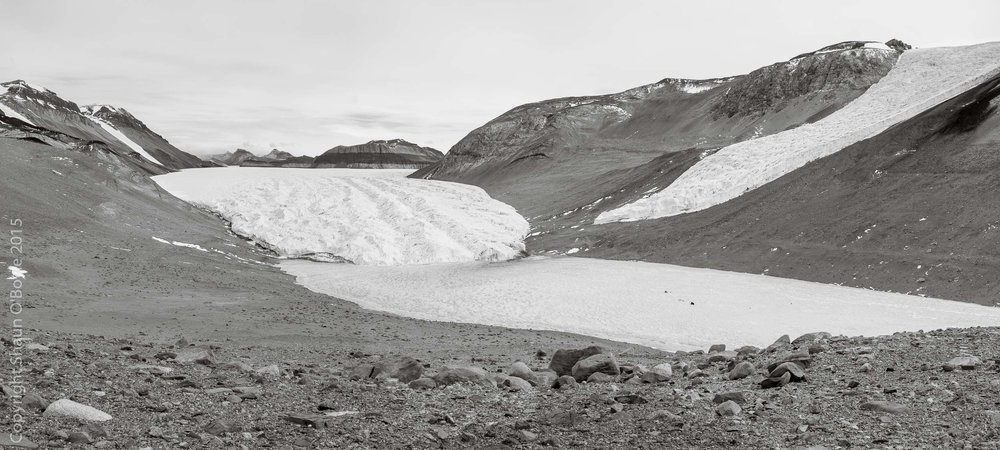 Lake Bonney and Taylor Glacier. This is the glacier that Scott descended and discovered the Dry Valleys in 1903. Rhone Glacier on right.