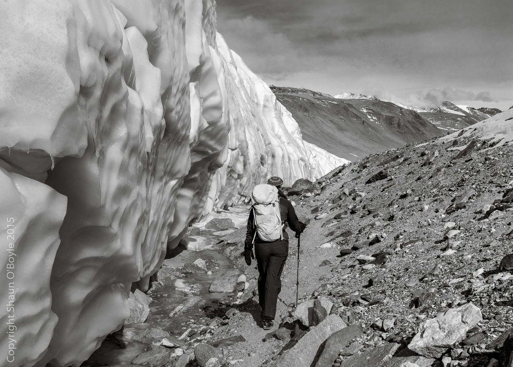 Renee trekking along side of the Canada Glacier
